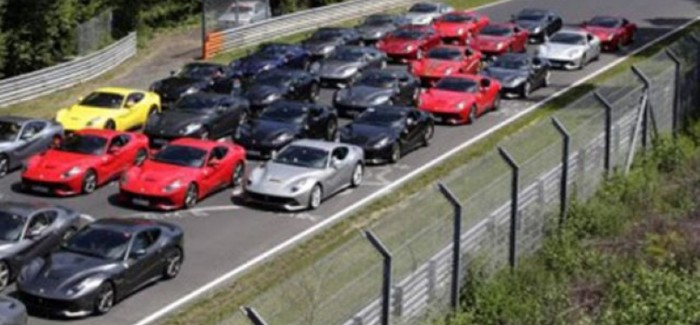 40 Ferrari F12 Berlinettas gathered together for a track day