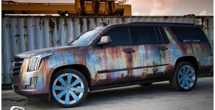 Cadillac Escalade Wrapped In Rust Chrome (2)