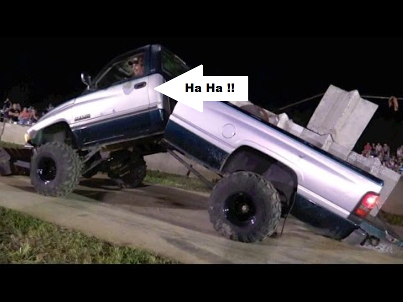 Dodge Diesel Truck Bends In Half In Truck Pull Contest on Ram 2500 Flat Bed