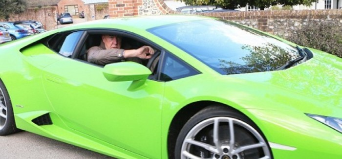 Jeremy Clarkson with his Lamborghini Huracan and Jaguar F-Type