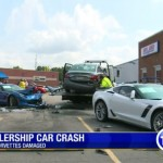 Man with Seizure crashes into two Corvette C7's (3)
