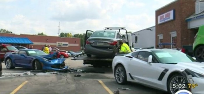 Man with Seizure crashes into two Corvette C7 Z06's