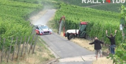 Rally car almost crashes into tractor