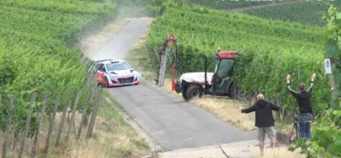 Rally car almost crashes into tractor – Video