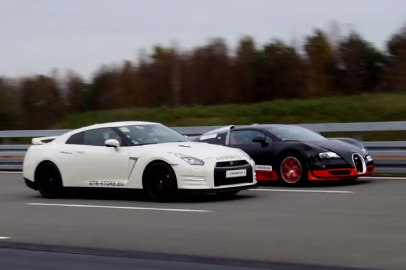 1200 hp nissan gt r vs 1200 hp bugatti veyron video. Black Bedroom Furniture Sets. Home Design Ideas