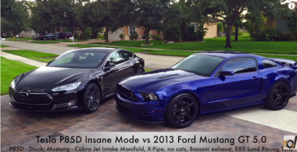 Drag Race - Tesla Model S P85D Insane Mode vs Modified 2013 Ford Mustang GT 5.0 (1)