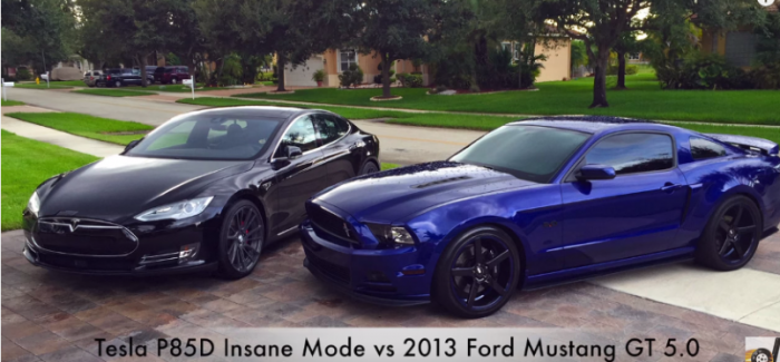 Drag Race – Tesla Model S P85D Insane Mode vs Modified 2013 Ford Mustang GT 5.0 – Video