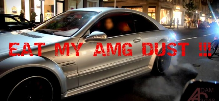 Cyclist Vs Mercedes Amg Burnout