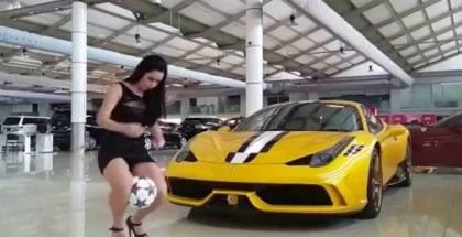 Model Raquel Benetti Juggles Soccer Ball Next To Ferrari 458 Speciale (1)