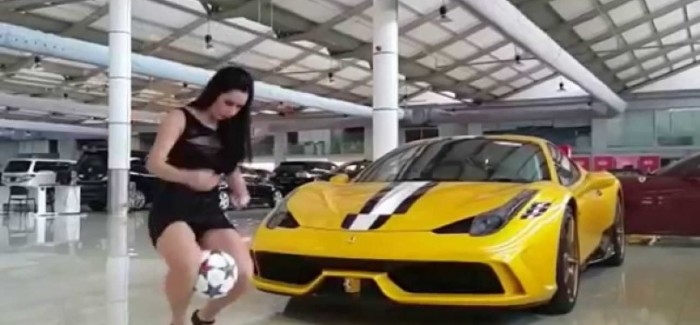 Model Raquel Benetti Juggles Soccer Ball Next To Ferrari 458 Speciale – Video