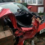 Rented Ferrari 458 crashed into a house and VW  (1)