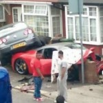 Rented Ferrari 458 crashed into a house and VW  (2)