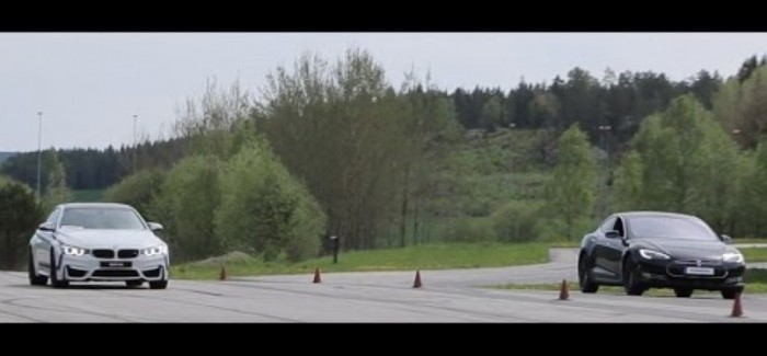Roll Race - BMW M4 vs 700 HP Tesla Models S P85D - 1