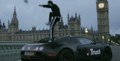 Soccer ball tricks on top of a Bugatti Veyron (1)