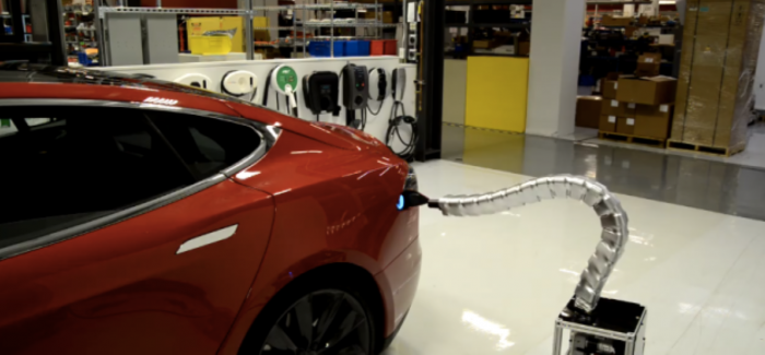 Tesla's Robot Snake Charger Is Scary – Video
