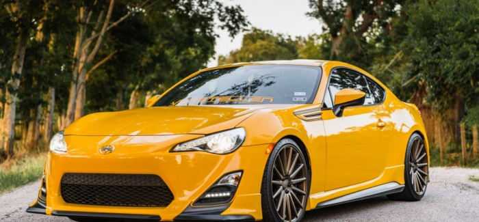 Yellow Scion FR-S with TRD Kit and Bronze Vossen Wheels