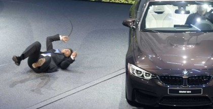Another camera angle of CEO of BMW Harald Krueger fainting (2)