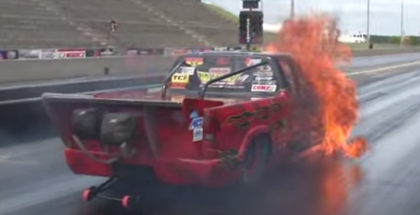 Drag Racing Chevy S-10 Nitrous Explodes (1)