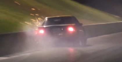 Drag Racing Mustang hits wall but saves the car from major damage
