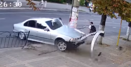 Lucky school boy almost gets hit by a BMW (2)