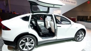 Tesla Model X Doors In Action Outside In A Parking Lot