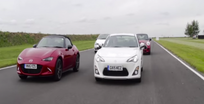 2015 Mazda MX-5 vs Mini Cooper S JCW, Renault Clio RS 220 Trophy and Toyota GT 86 (2)