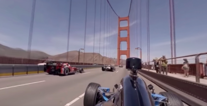 360 degree viewing experience - Indy Cars Crossing Golden Gate Bridge