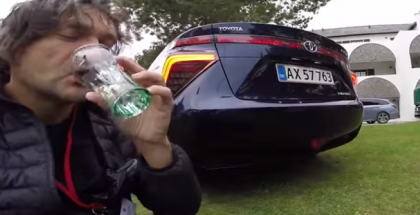 Car reviewer drinks waste water from Toyota Mirai (1)
