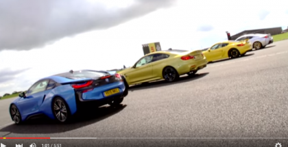 Drag Race - Porsche Cayman GT4 vs BMW M4 vs Lexus IS-F vs BMW i8 (1)