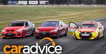 Drag Race - Tesla Model S P85D vs Holden V8 Supercar vs Walkinshaw HSV GTS (2)
