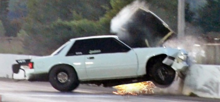 Drag Racing Fox Body Mustang Crash After Wheelie Video