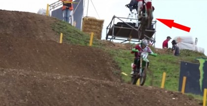 MX racer accidentally lands on a fellow racer's head (2)