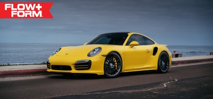 Yellow Porsche 991 Turbo S with 20 inch FF15 HRE wheels