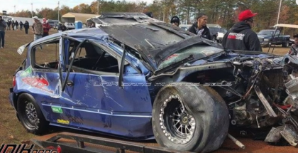 Honda Civic rolls over at 150MPH