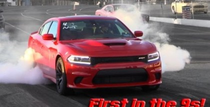 Lady driver takes the Hellcat Charger into the 9's (2)