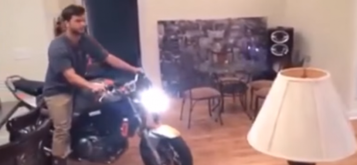 Riding a motorcycle in the living room is not a good idea ...