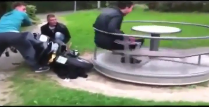 Scooter merry go round prank backfires on prankers (1)