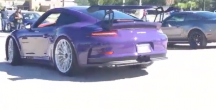 Ultra Violet Porsche 991 GT3 RS with HRE P103 wheels at car gathering 3