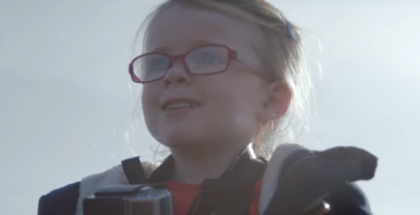 4-year-old girl controling a huge Volvo truck (1)