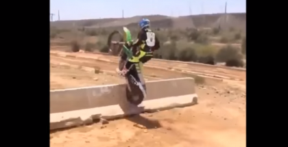 Motorcycle jumping over concrete barriers (2)