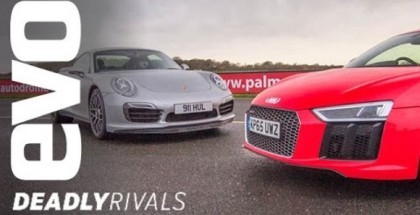 evo - Audi R8 V10 Plus vs Porsche 991 Turbo S (1)