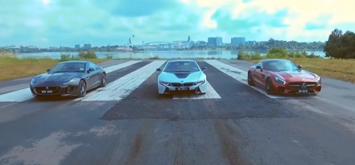 Drag Race Bmw I8 Vs Mercedes Benz Amg Gts Vs Jaguar F Type Video