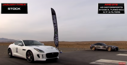 Drag Race - Jaguar F Type R vs Tuned Mercedes AMG GTS (1)
