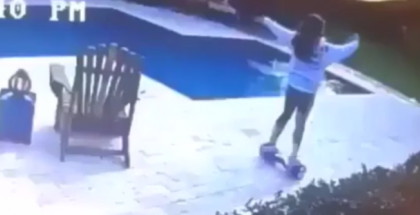 Hoverboard fail ends in pool (1)