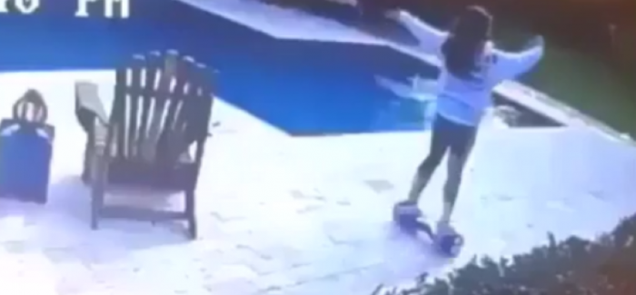 Hoverboard fail ends in pool – Video