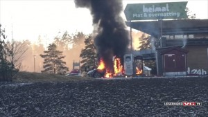 Tesla Model S catches fire while at charging station (1)