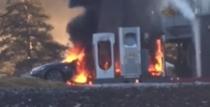 Tesla Model S catches fire while at charging station (2)