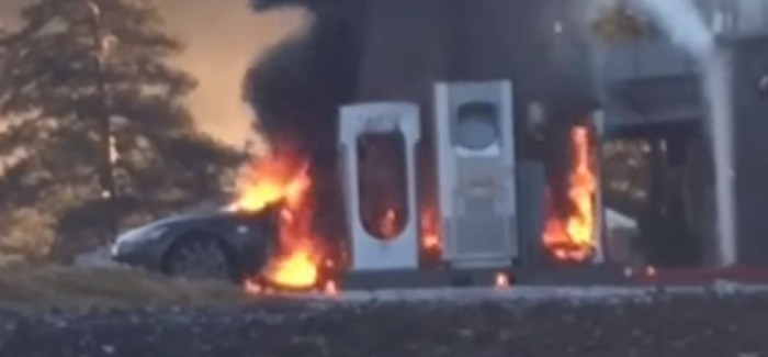 Tesla Model S catches fire while at charging station – Video