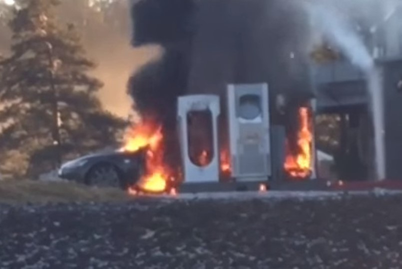 Tesla Model S Catches Fire While At Charging Station