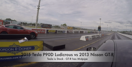 Drag Race - Tesla Model S P90D Ludicrous vs 2013 Nissan GT-R (1)